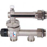 STOUT Насосно-смесительный узел с термостатическим клапаном 20-43°C и жидкокристаллическим термометром, без насоса